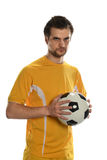 Soccer Player Holding Ball Royalty Free Stock Image