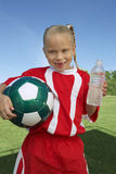 Soccer Player Holding Water Bottle Stock Photo