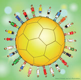Soccer player Icons. Doodle soccer set of sport equipment , soccer player Icons - hand drawn - Vector illustration Signs on color background Royalty Free Stock Photos