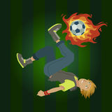 Soccer player. Image of a soccer player shooting the ball upside down Stock Photos