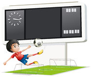 A soccer player inside the gym with a scoreboard. Illustration of a soccer player inside the gym with a scoreboard on a white background Stock Photo