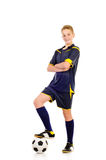 Soccer player. Isolated on a white background Stock Photos