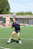 Soccer player juggle the ball  with his head Royalty Free Stock Image