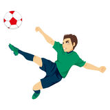 Soccer Player Jumping. Illustration of young male professional soccer player jumping to kick ball Stock Photography