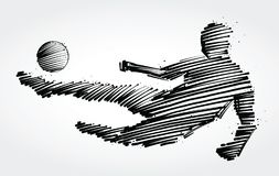 Soccer player jumping to kick the ball. Made of black brushstrokes Stock Photo
