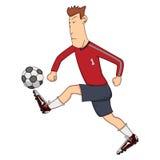 Soccer player kick the ball cartoon. Soccer player cartoon kick the ball - full color Royalty Free Stock Photo