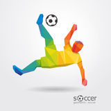 Soccer player kick striker player geometric design  . Stock Photo