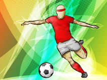 Soccer player kicking. Colorful abstract soccer illustration of a ball being kicked Stock Images