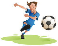 Soccer player kicking ball stock illustration