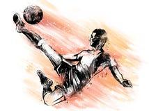 Soccer player kicking ball. illustration of sport. Soccer player kicking ball. illustration vector illustration
