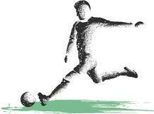 Soccer player kicking ball. illustration of sport. Soccer player kicking ball. illustration royalty free illustration