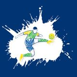 Soccer player kicking ball. Soccer player kick the ball, isolated on white color paint splash background Royalty Free Stock Images