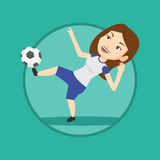 Soccer player kicking ball vector illustration. Royalty Free Stock Image