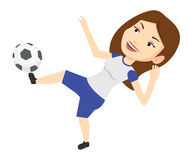 Soccer player kicking ball vector illustration. Young caucasian soccer player kicking ball during game. Happy female soccer player juggling with a ball. Soccer Stock Photography