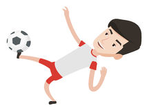 Soccer player kicking ball vector illustration. Young caucasian soccer player kicking ball during game. Male soccer player juggling with a ball. Football player Stock Photos