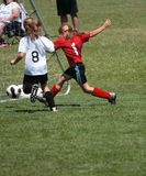 Soccer Player Kicking Goal. Girl soccer player kicking ball into goal during game play Stock Images