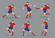 Soccer Player Kicking Passing Heading and Goal Shooting Poses Stock Image