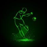 Soccer player kicks the ball. Back view. Stock Image