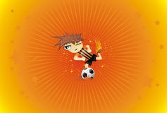 Soccer player kicks the ball background Stock Photo