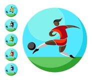 Soccer player kicks the ball. colored icon in a circle with sky and grass. Sign, logo, football emblem. Football players of different colors of skin and races Stock Images