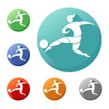 Soccer player kicks the ball. icon in the circle stock illustration