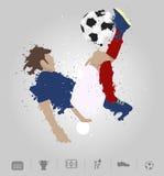 Soccer player kicks the ball with paint splatter design. Vector illustration modern design template Royalty Free Stock Photos