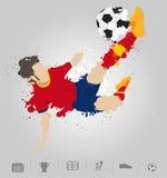 Soccer player kicks the ball with paint splatter design. Vector illustration modern design template Stock Photography