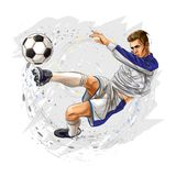 Soccer player kicks the ball. Vector illustration Stock Photos