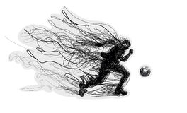 Soccer player kicks the ball. Royalty Free Stock Photo