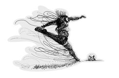 Soccer player kicks the ball. Vector illustration. Original graphic. Lines Stock Photography