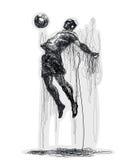 Soccer player kicks the ball. Vector illustration. Original graphic. Lines Stock Image