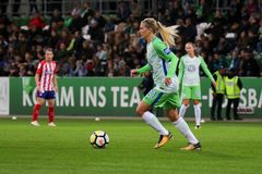 Soccer player Lara Dickenmann in action during UEFA Women`s Champions League. WOLFSBURG, GERMANY October 11, 2017. Female soccer player, Lara Dickenmann, in royalty free stock photography