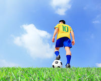 Soccer player man with ball Stock Images