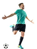 Soccer player man happy celebration  isolated Stock Images