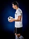 Soccer player man isolated Royalty Free Stock Images