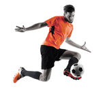 Soccer player Man Isolated silhouette Stock Images