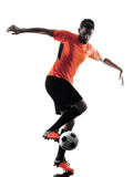 Soccer player Man Isolated silhouette Royalty Free Stock Images