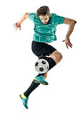 Soccer player man jungling isolated white background Royalty Free Stock Images