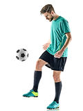 Soccer player man jungling isolated white background Stock Photo