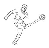 Soccer player man playing football jumping with ball.  Vector black illustration on white  white background Royalty Free Stock Images