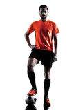 Soccer player Man  silhouette Royalty Free Stock Photos