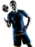 Soccer player man standing smiling silhouette isolated Stock Photography