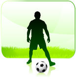 Soccer Player with Nature Frame Royalty Free Stock Photography