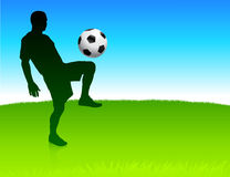 Soccer player on nature park background Stock Photo