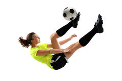 Soccer Player Performing Bicycle Kick Royalty Free Stock Photography