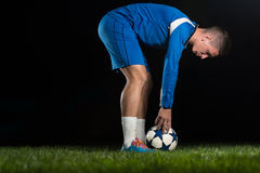 Soccer Player Positions The Ball Stock Photos