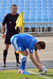 Soccer player puts the ball on the corner Royalty Free Stock Photo