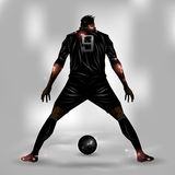 Soccer player ready to shoot. Soccer player getting ready to shoot a soccer ball Royalty Free Stock Photography