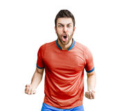 Soccer player on red and blue uniform on white background.  stock photography