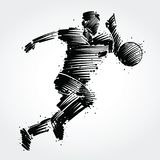 Soccer player running behind the ball. Made of black brushstrokes Royalty Free Stock Photo